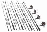 Set din 4 lansete FINOCARP 3,9m cu 4 mulinete Wind Blade TR60 cu 10 rulmenti