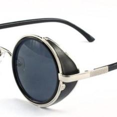 Ochelari de soare steampunk silver, Unisex, Negru, Protectie UV 100%, Metal