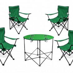 Set camping Masa Rotunda + 4 scaune - masa camping