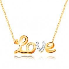Colier din aur 9K - inscripție Love bicoloră, zirconii, lanț strălucitor subțire - Colier aur
