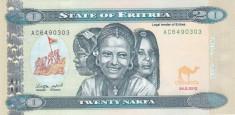 Bancnota Eritrea 20 Nafka 2012 - P12 UNC foto