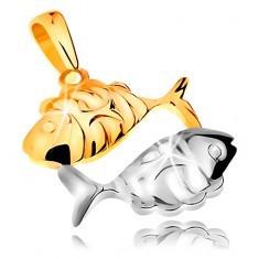 Pandantiv din aur de 14K - model semn zodiacal - PEŞTI - Pandantiv aur