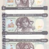Bancnota Eritrea 1, 5 si 10 Nafka 1997 - P1-3 UNC ( set 3 bancnote ) - bancnota africa