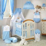 Lenjerie patut 3 piese 120 x 60 Ursulet Bleu + Cearceaf Cadou Mamo-Tato - Lenjerie pat copii