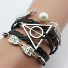 Bratara Harry Potter - Golden Snitch, Owl, Triangle Talismanele Mortii - Bratara Fashion
