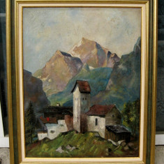 Tablou vechi Casa cu turn pictat in ulei pe panza 63x78cm - Tablou autor neidentificat, Peisaje, Realism