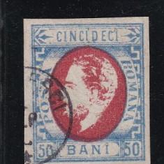 ROMANIA 1871 LP 34 CAROL I CU BARBA VAL. 50 BANI NEDANT. POINCON L. PASCANU - Timbre Romania, Stampilat