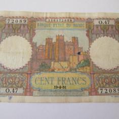Maroc 100 Francs 1951 - bancnota africa
