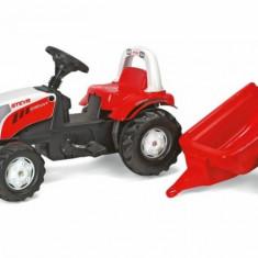Tractor cu Pedale si Remorca 012510 Alb-Rosu Rolly Toys - Vehicul