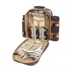 Set picnic rucsac lux pentru 4 persoane - Vesela camping Alexer, Set vesela
