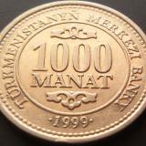 Moneda 100 Manat - TURKMENISTAN, anul 1999 *cod 1589 xF, Asia