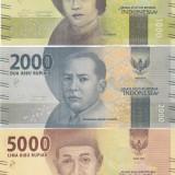 Bancnota Indonezia 1.000, 2.000 si 5.000 Rupii 2016 - PNew UNC ( set x3 ) - bancnota asia