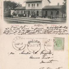 Falticeni ( Suceava, Bucovina )- Gara- clasica, rara - Carte Postala Bucovina pana la 1904, Circulata, Printata