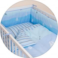 Set Lenjerie de pat pentru copii Ceba Baby Sailboats 3 piese 800-042-190 - Lenjerie pat copii