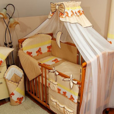 Set Lenjerie de pat pentru copii IKS 2 Ursuleti cu bulinute 4 piese - Lenjerie pat copii