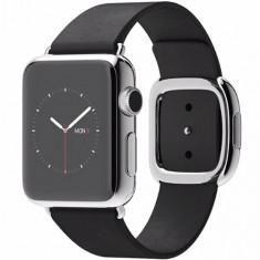 APPLE WATCH 38 MM CARCASA DIN OTEL INOXIDABIL SI CUREA MODERN NEAGRA M MJYL2 - Smartwatch