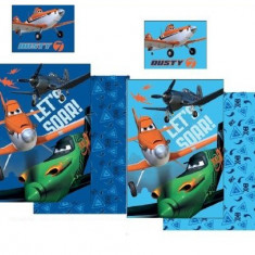 Lenjerie de pat pentru copii Disney Planes Dusty Let's Soar 2 piese, Albastru - Lenjerie pat copii