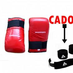 Manusi sac Anastasia Sport, rosii, piele naturala, marime L, + bandaje box cadou - Manusi box