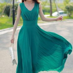 Rochie midi, eleganta, de seara, pentru ocazii - Rochie ocazie, Marime: XL, XXL, Culoare: Verde, XL, Fara maneca