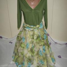Fusta Zara Basic de vis Mar L, Marime: L, Culoare: Multicolor, 3/4, Asimetrica, Poliester