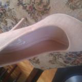 pantofi cu toc , crem