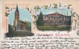 SALUTARI DIN BUZIAS  HOTEL BAZAR BISERICA ROMANO-CATOLICA LITOGRAFIE  CIRC.1902, Circulata, Printata