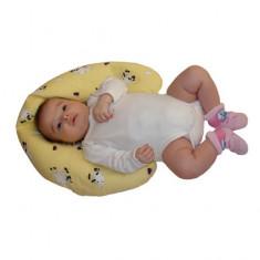Perna cuib pentru bebelusi Ty i My 100 x 15 cm PCTM1, Albastru cu inimioare - Perna bebelusi