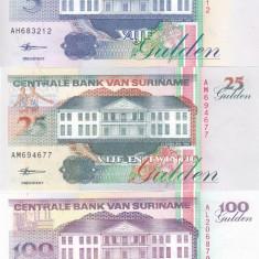 Bancnota Suriname 5, 25 si 100 Gulden 1998 - P136-139b UNC ( set x3 ) - bancnota america