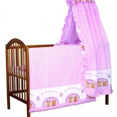 Set Lenjerie de pat pentru copii Ankras Iepuras si Ursulet 5 piese LPAIU5-R - Lenjerie pat copii