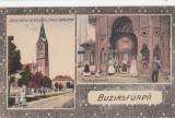 BUZIAS  BISERICA  ROM. KATH. SI NAGY HOTEL  MIHALY FORRAS  COLONADA  CIRC. 1920, Circulata, Printata