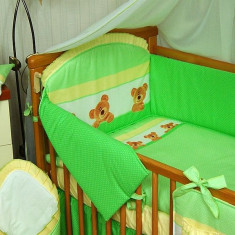 Set Lenjerie de pat pentru copii IKS 2 Ursuleti cu buline 6 piese, Verde - Lenjerie pat copii