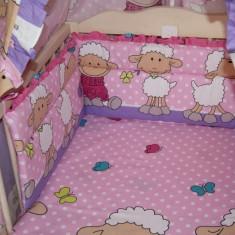 Set Lenjerie de pat pentru copii-IKS 2 Oite 5 piese LPO5-R, Roz - Lenjerie pat copii