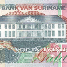 Bancnota Suriname 25 Gulden 1998 - P138b UNC - bancnota america