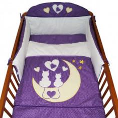 Set Lenjerie de pat pentru copii-Ty i My My Kitten 3 piese LPTMK3-M, Mov - Lenjerie pat copii