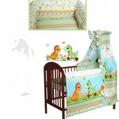 Set Lenjerie de pat pentru copii-IKS 2 Dino 4 piese LPD4-V - Lenjerie pat copii