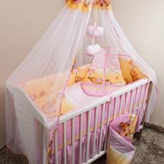 Set Lenjerie de pat pentru copii Ankras Elefant cu umbrela 5 piese LPAECU5-R - Lenjerie pat copii