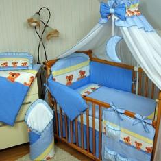 Set Lenjerie de pat pentru copii-IKS 2 Ursuleti cu buline 5 piese LPIU5-A, Albastru - Lenjerie pat copii
