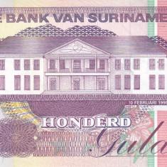 Bancnota Suriname 100 Gulden 1998 - P139b UNC - bancnota america
