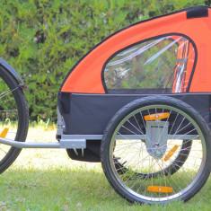 Remorca de bicicleta cu suspensie marca Samax, portocalie - Remorca bicicleta