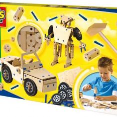 Ses Hobby Baieti - Set De Constructie Din Lemn - Diverse Modele - Vehicul