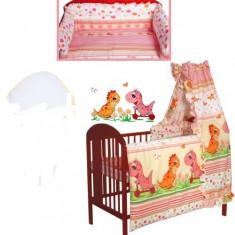 Set Lenjerie de pat pentru copii IKS 2 Dino 6 piese, Coral - Lenjerie pat copii