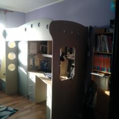 Vand pat etajat cu birou si dulap, tip Jysk - Set mobila copii