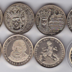 SERIE 7+1b.50 bani COMEM.2010 2011 2012 2014 2015 2016+2 b. 2017 UNC+PROOF CAROL - Moneda Romania, Alama