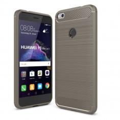 Husa Carbon Fibre Huawei P9 lite (2017) - P8 Lite (2017) - Bonus Folie Ecran - Husa Telefon Huawei, Gri, Gel TPU