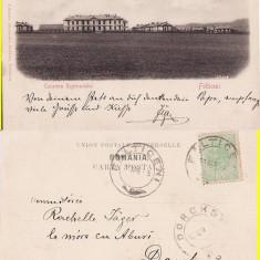 Falticeni ( Suceava, Bucovina )- Cazarma regimentului- clasica, rara - Carte Postala Bucovina pana la 1904, Circulata, Printata