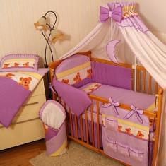 Set Lenjerie de pat pentru copii-IKS 2 Ursuleti cu buline 5 piese LPIU5-M - Lenjerie pat copii