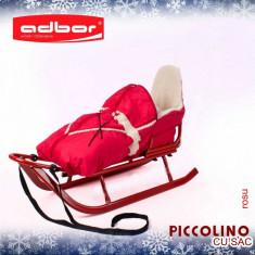 Saniuta pentru copii Piccolino cu saculet Rosu Adbor - Sanie