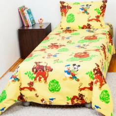 Lenjerie pat copii 1 persoana Lion King BebeDeco, Roz