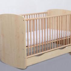 Patut Copii Lemn cu Sertar Serena Cu Leganare 3613 MyKids - Patut lemn pentru bebelusi MyKids, 120x60cm, Maro