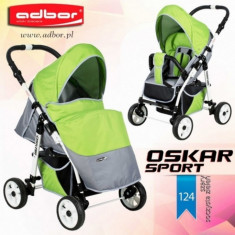 Carucior sport Oskar Sport 124 (Gri deschis cu Verde deschis) Adbor - Carucior copii Sport